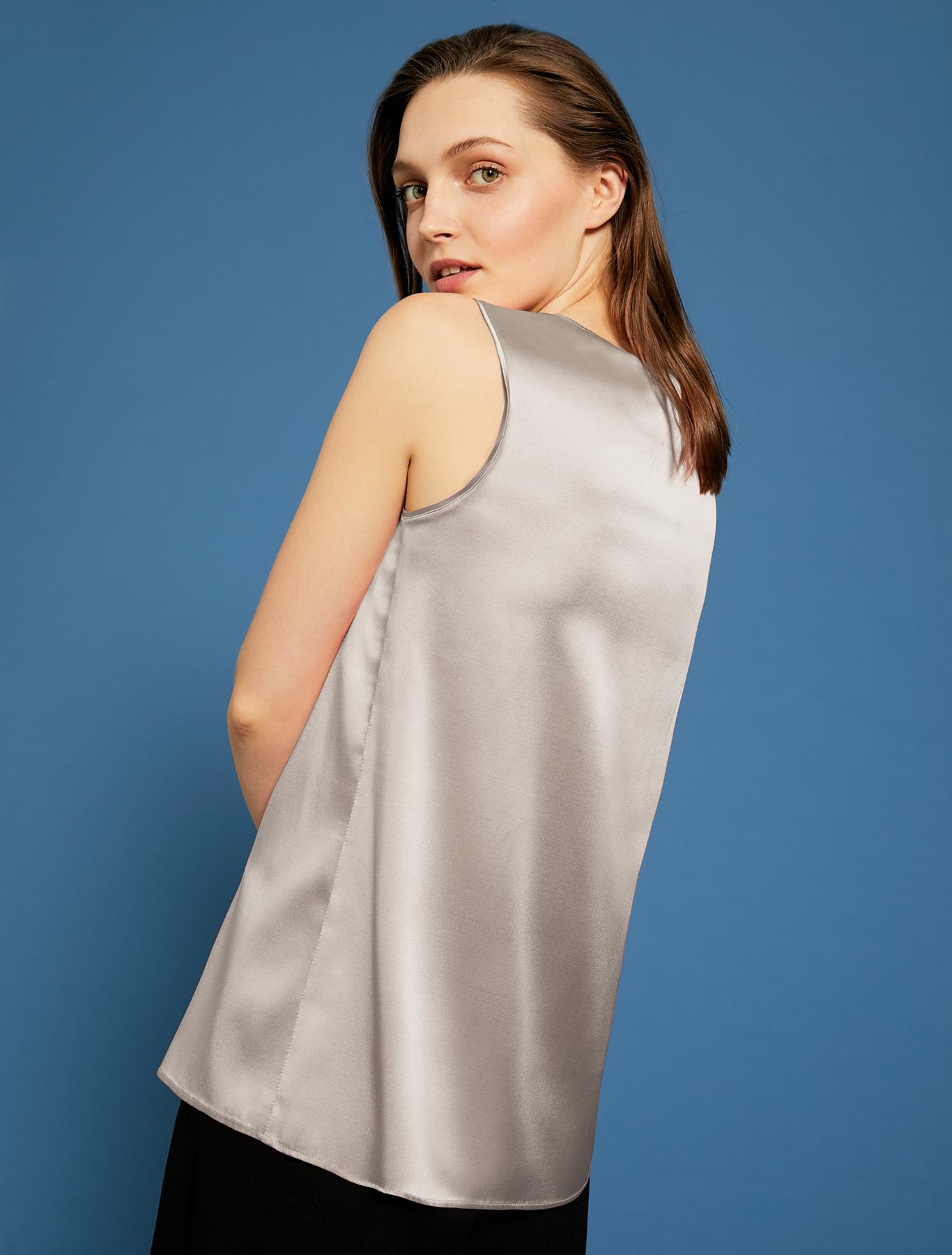Silk satin top - pearl grey - pennyblack