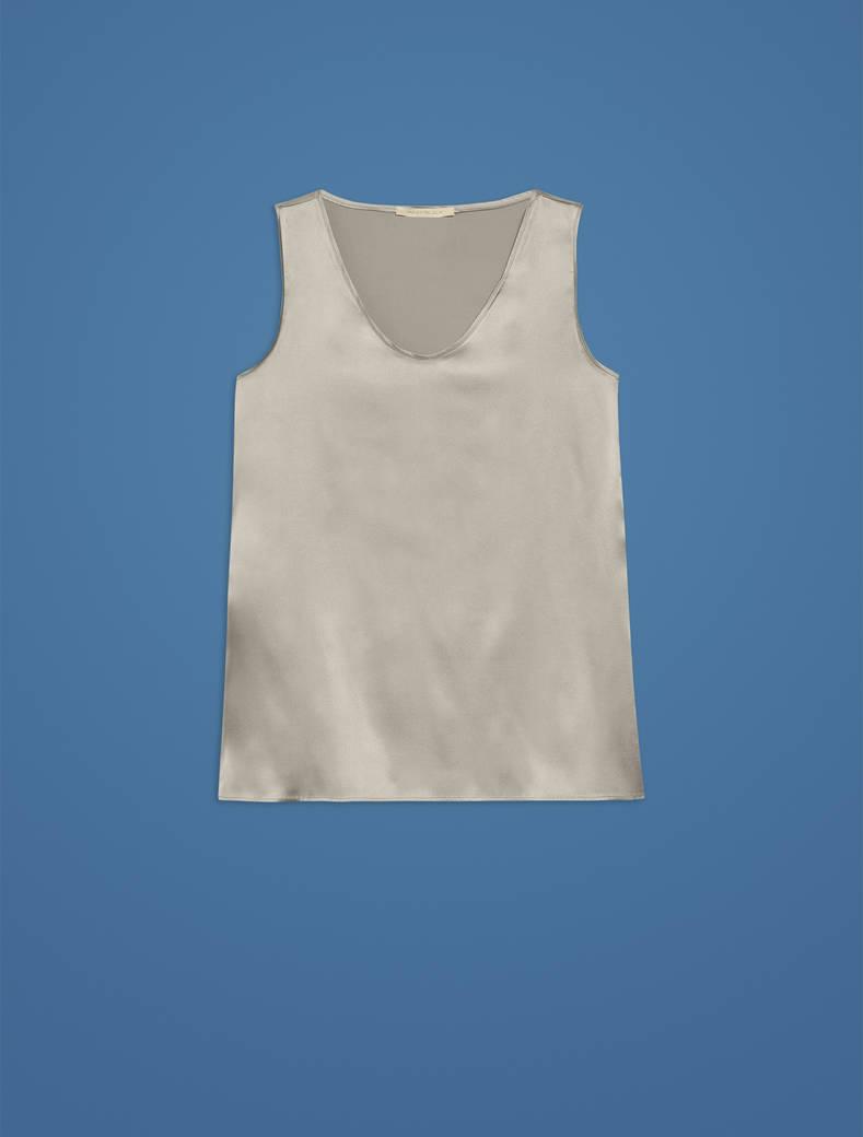 Top in raso di seta - grigio perla - pennyblack