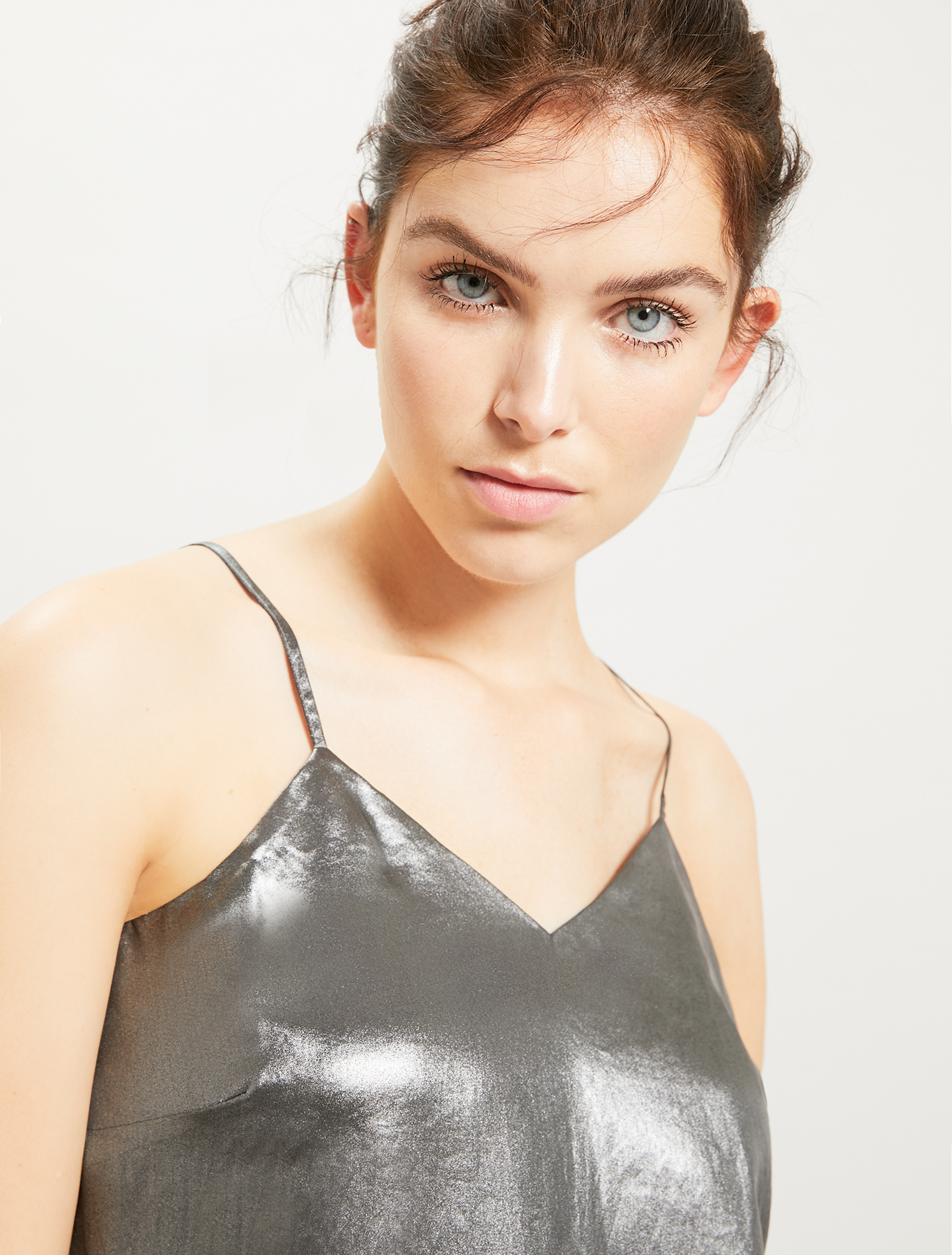 Laminated georgette top - silver - pennyblack