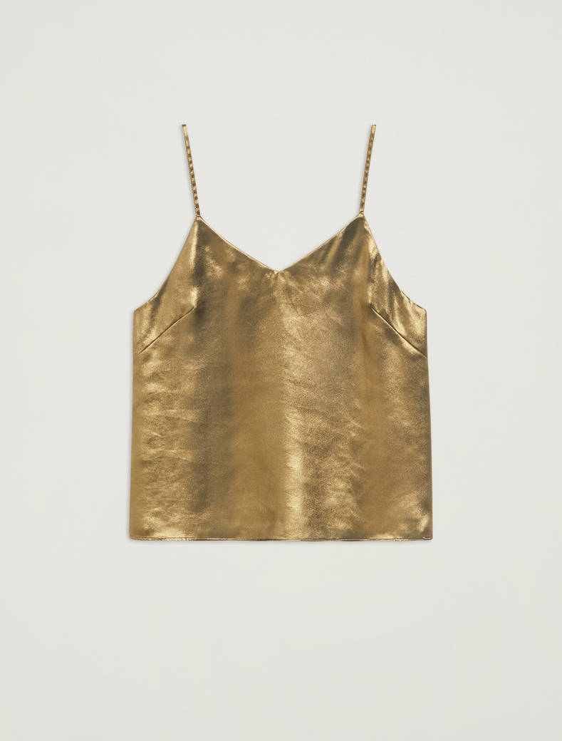 Top in georgette laminata - oro - pennyblack