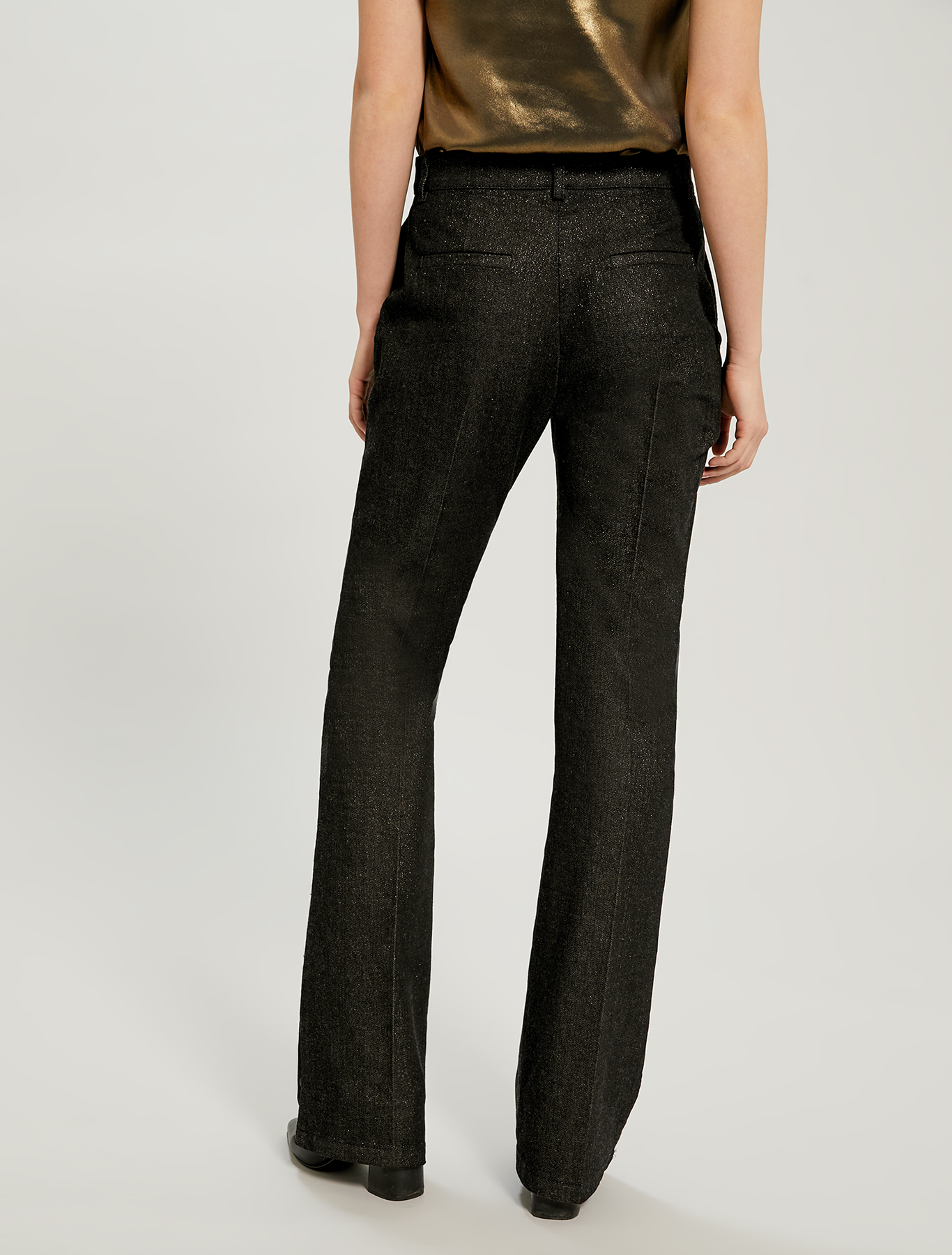 Black bootcut jeans with lamé - black - pennyblack