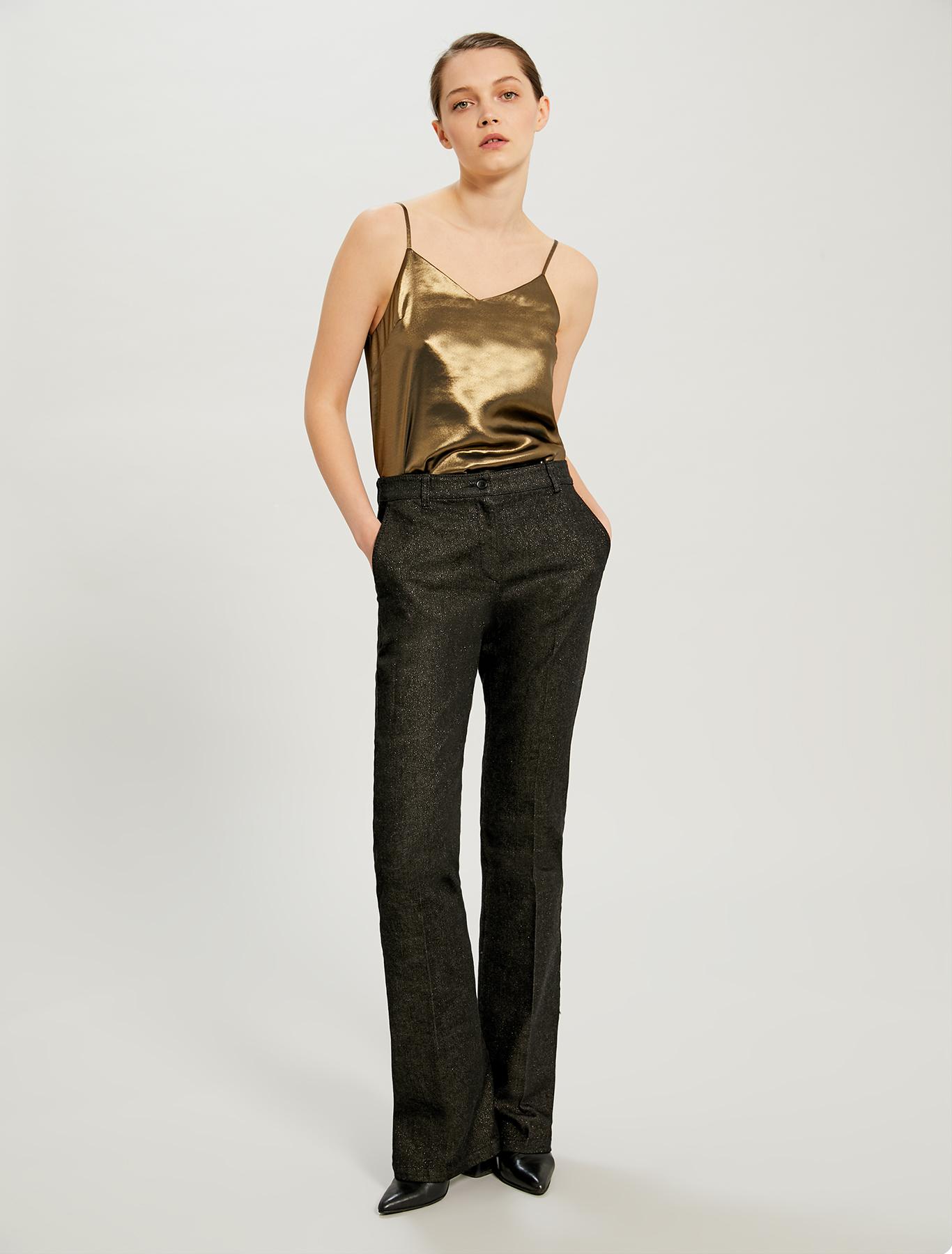 Black bootcut jeans with lamé - black - pennyblack