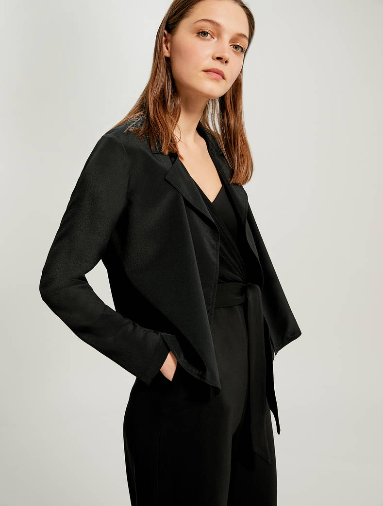 Lightweight deconstructed jacket - black - pennyblack