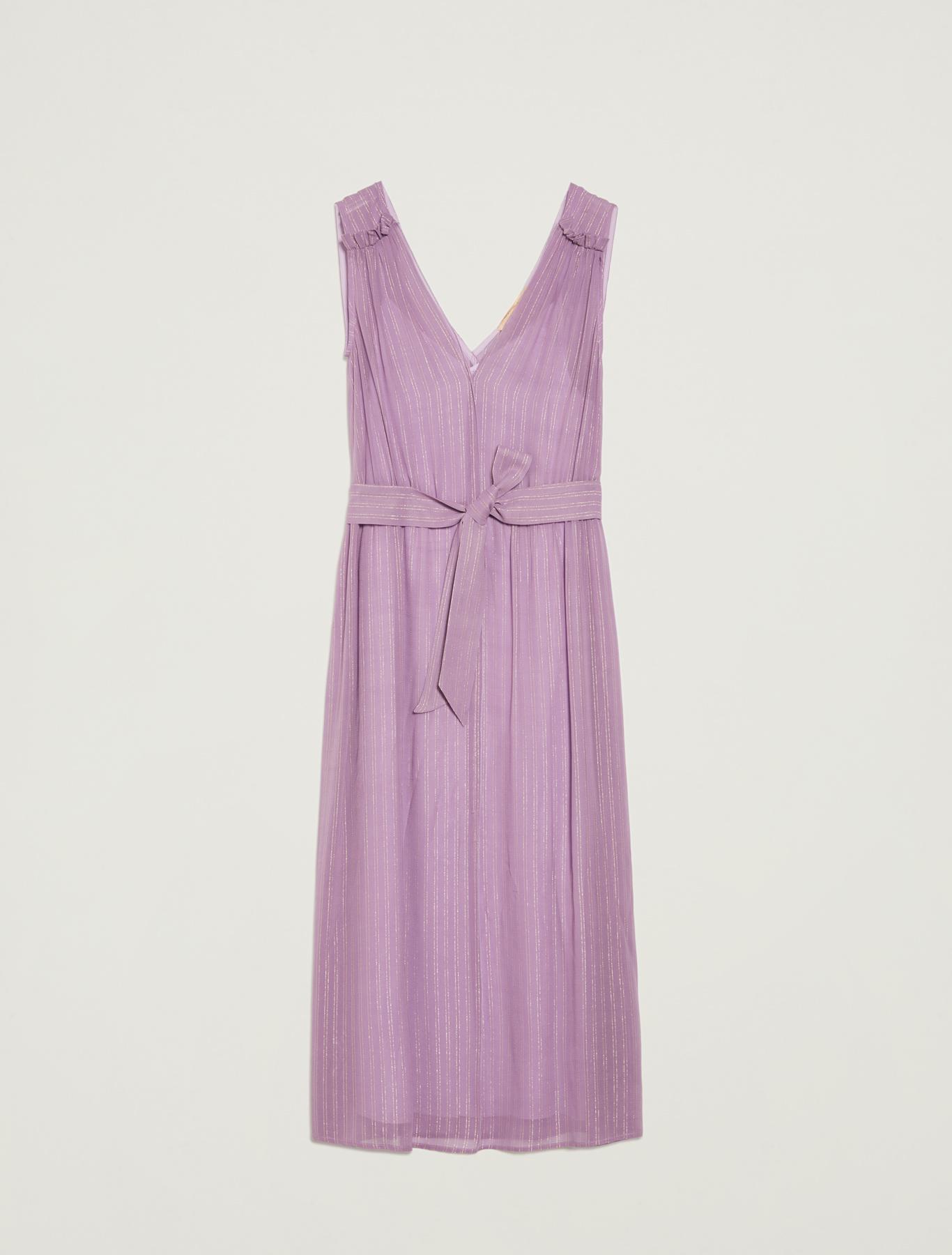 Lamé chalk-stripe dress with belt - lilac pattern - pennyblack