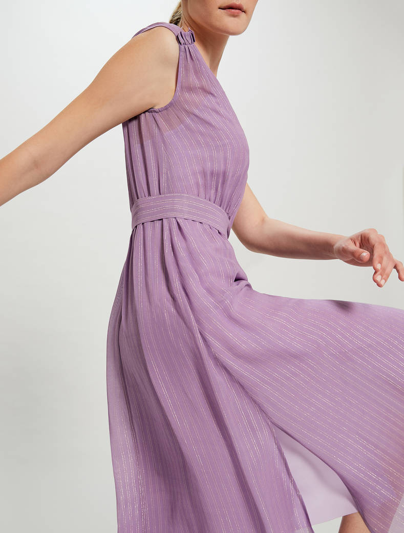 Lamé chalk-stripe dress with belt - lilac pattern - pennyblack