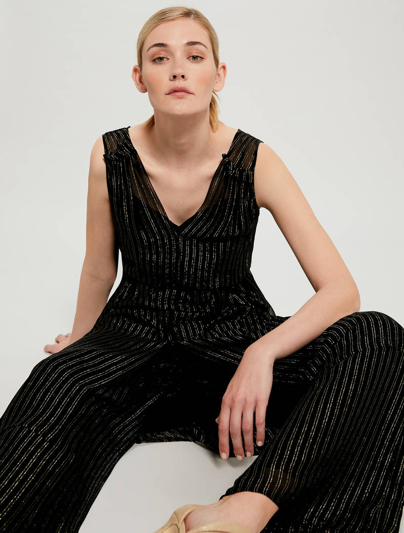 Lamé chalk-stripe dress with belt - black pattern - pennyblack
