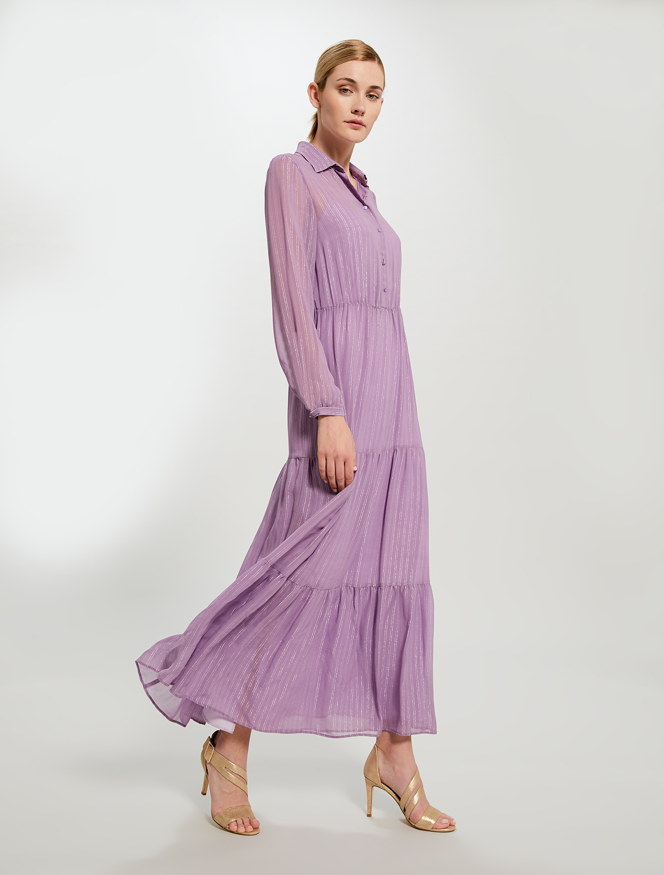 Oversized lamé chalk-stripe shirt dress - lilac pattern - pennyblack