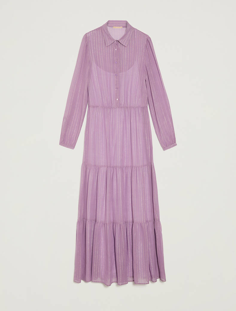 Oversized lamé chalk-stripe shirt dress - lilac pattern - pennyblack