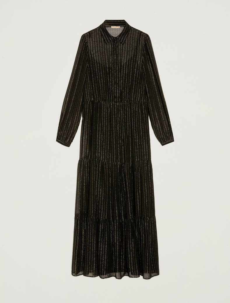 Oversized lamé chalk-stripe shirt dress - black pattern - pennyblack