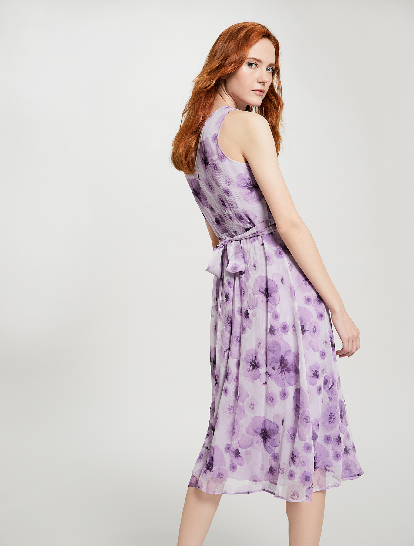 Floral dress with tie belt - lilac pattern - pennyblack