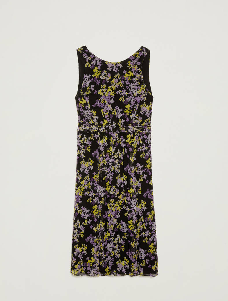 Floral dress with tie belt - black pattern - pennyblack