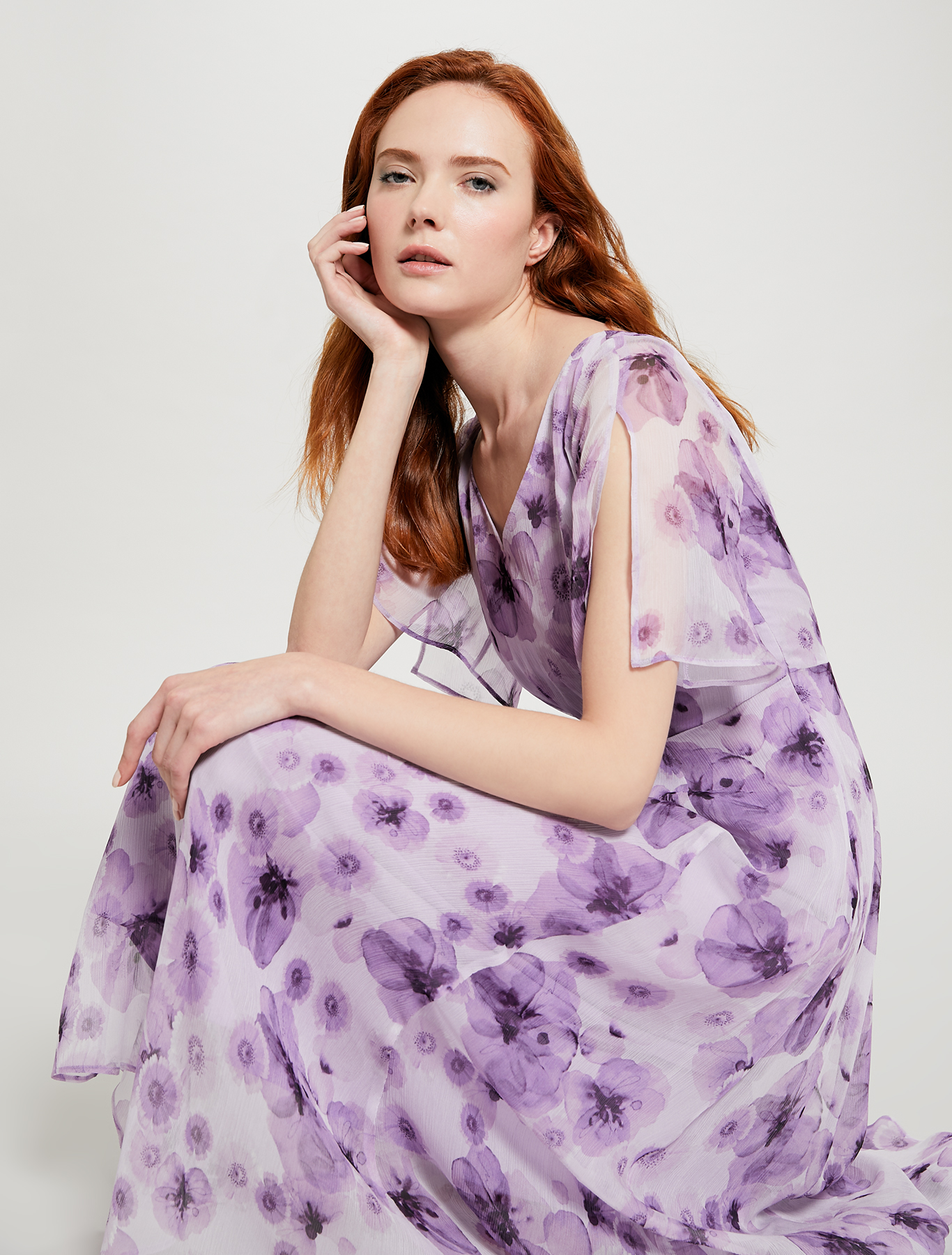 Floral dress with gathering - lilac pattern - pennyblack