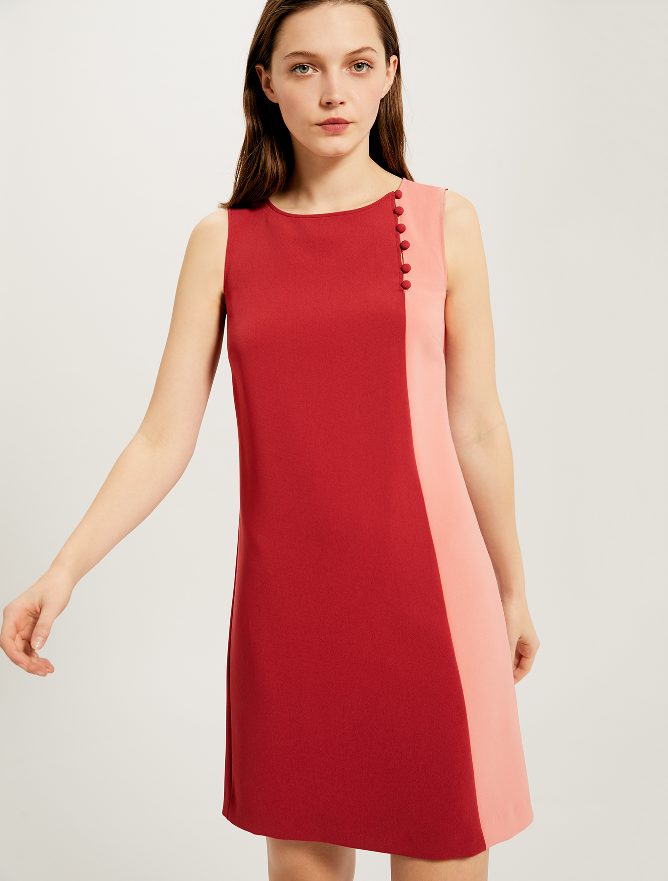 Colour-block dress with boule buttons - red - pennyblack