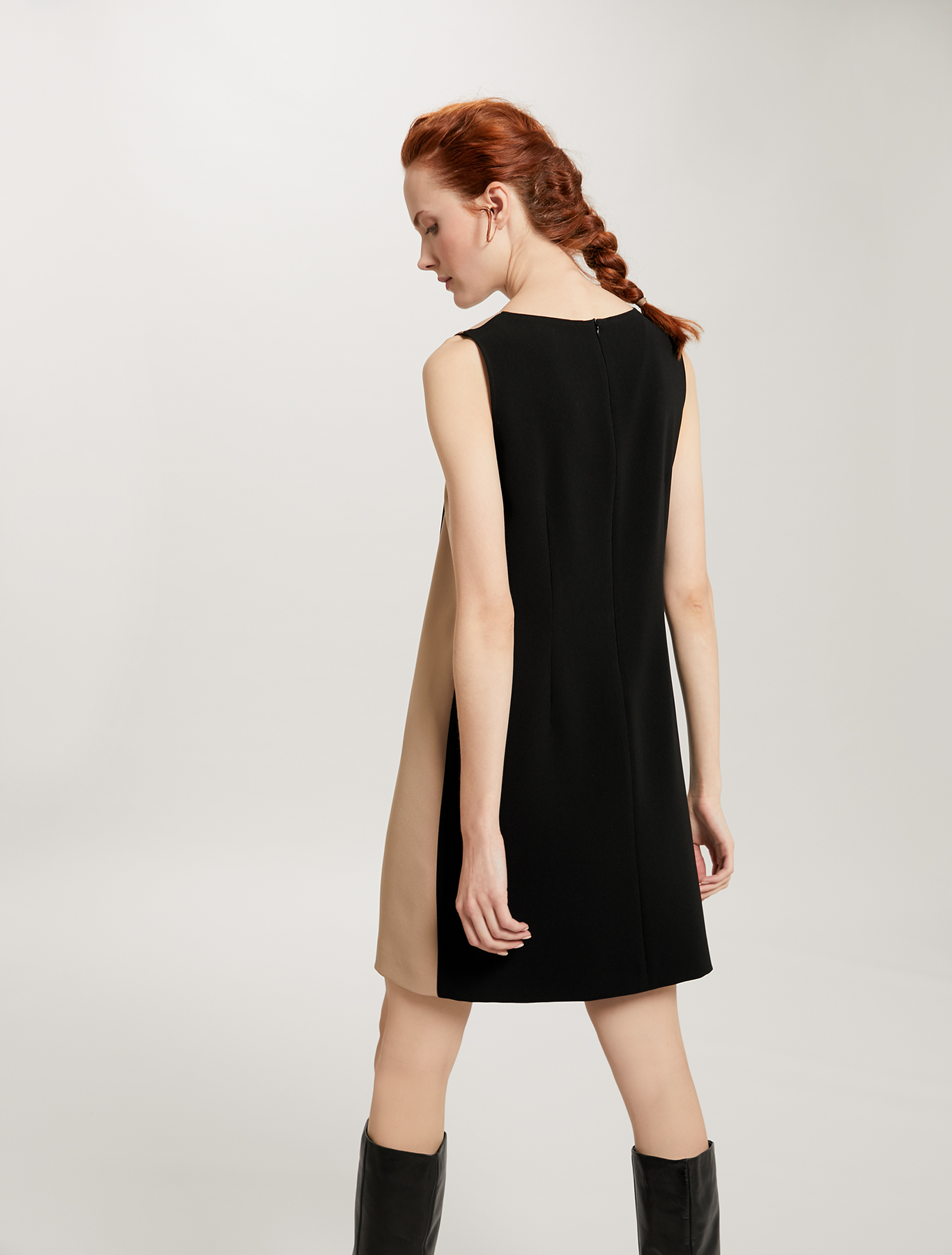 Colour-block dress with boule buttons - black - pennyblack