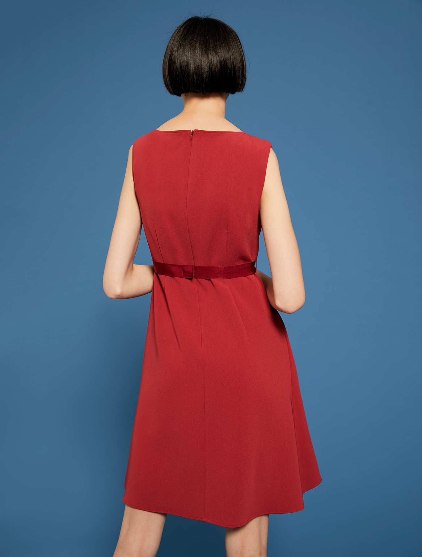 Dress with flounced hem and bijou belt - red - pennyblack