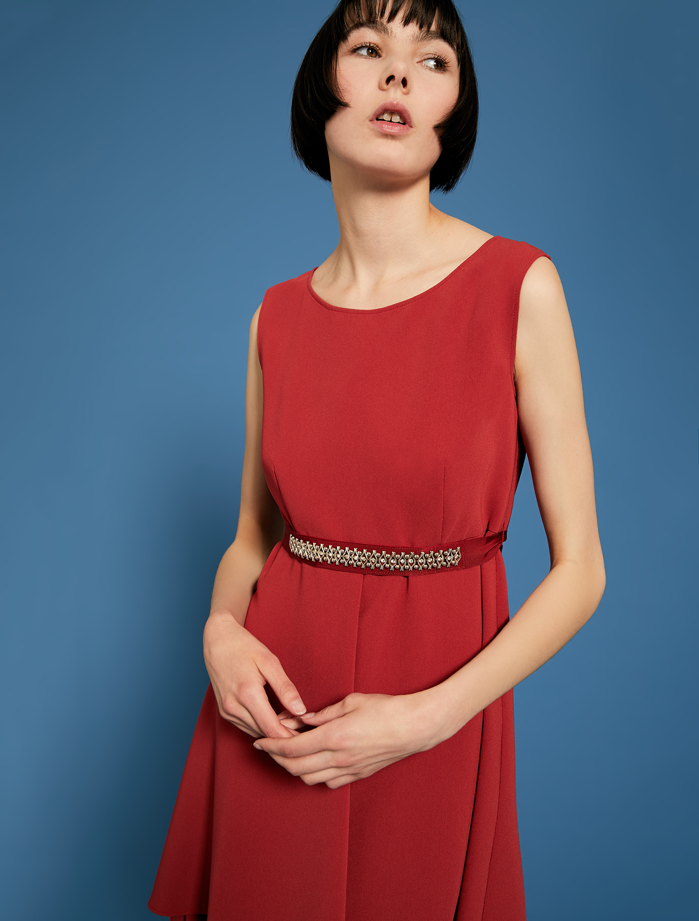Dress with flounced hem and bijou belt - red - pennyblack