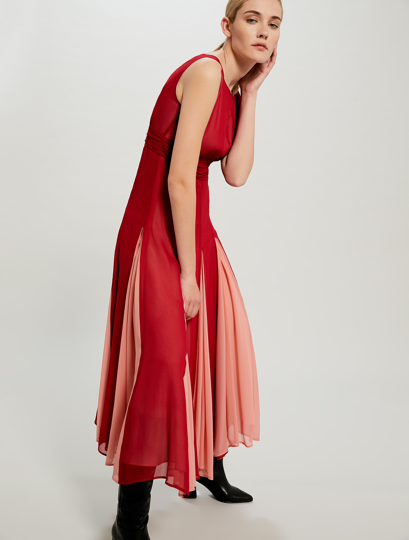 Dress with contrasting segments - burgundy - pennyblack
