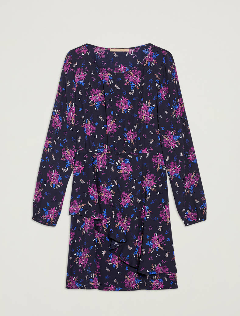 Floral georgette dress - navy blue pattern - pennyblack