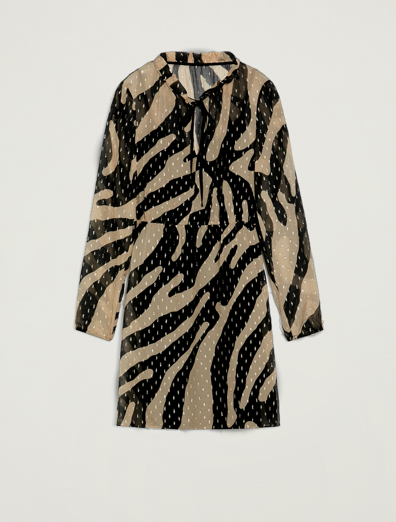 Animal print silk dress with lamé - camel pattern - pennyblack