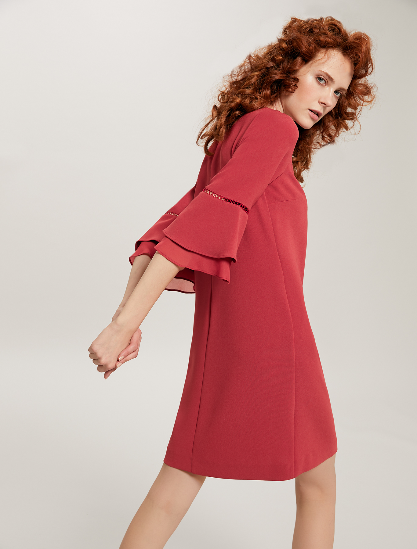 Dress with openwork and ruffles - red - pennyblack