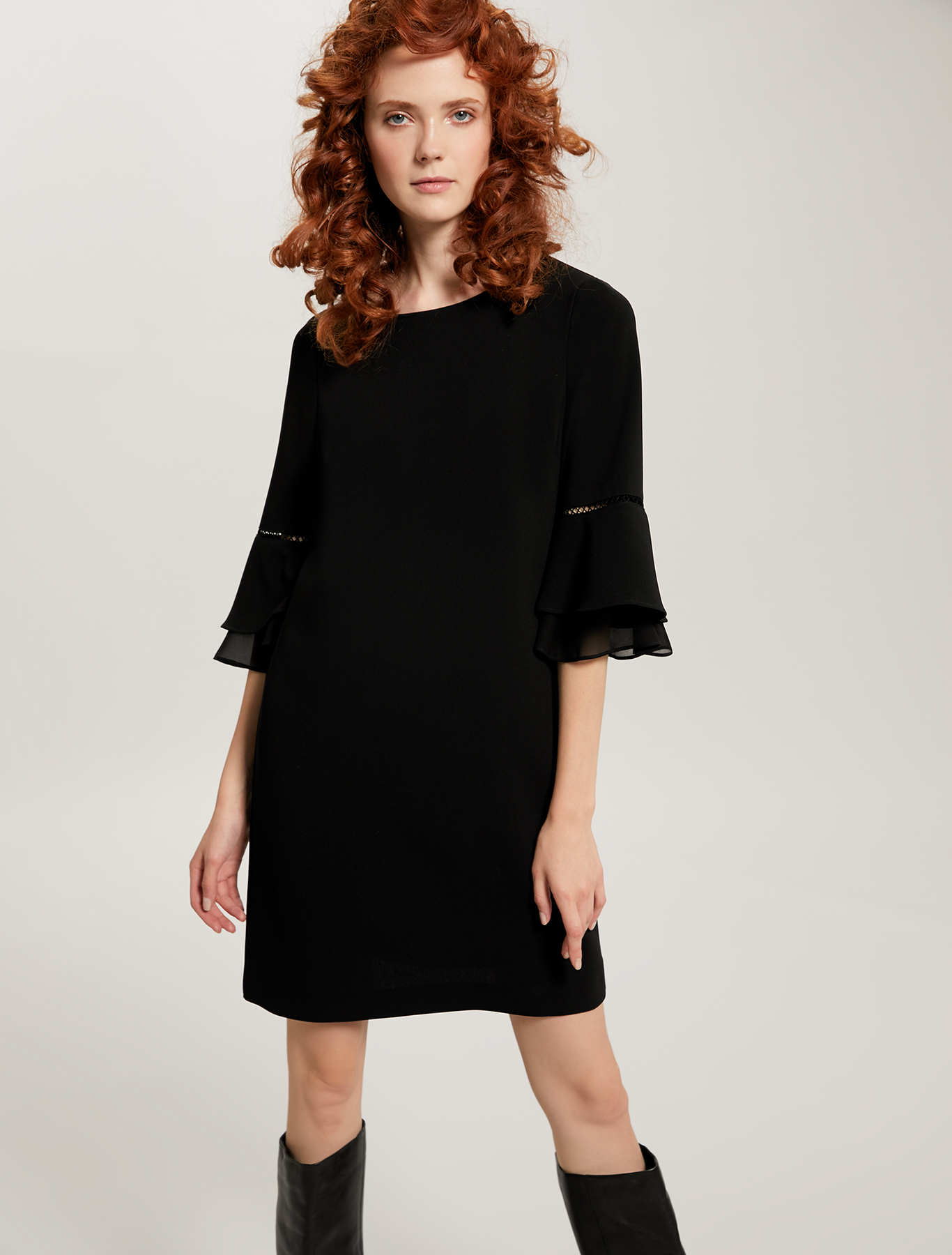 Dress with openwork and ruffles - black - pennyblack