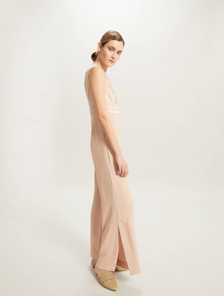 Palazzo jumpsuit with shiny stripes - old rose - pennyblack