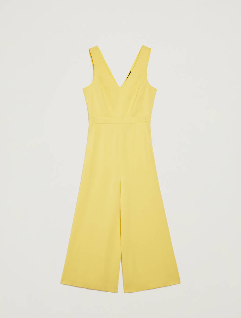 Cropped belted jumpsuit - soft yellow - pennyblack