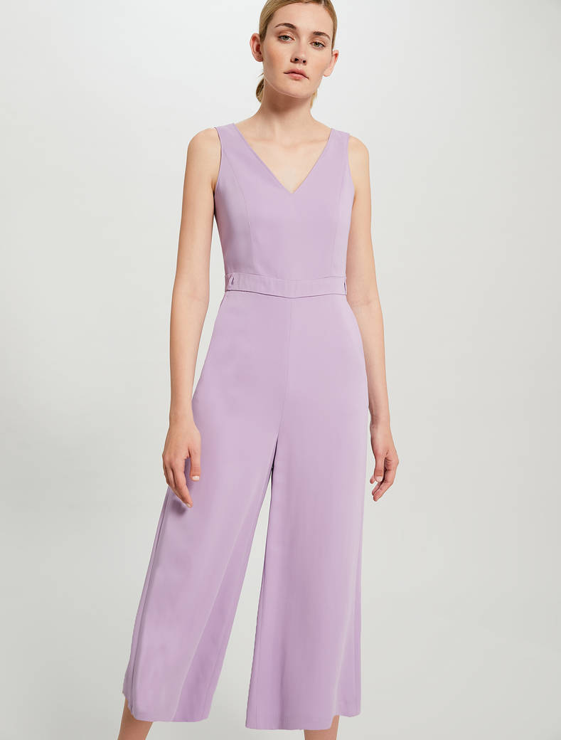 Cropped belted jumpsuit - lilac - pennyblack