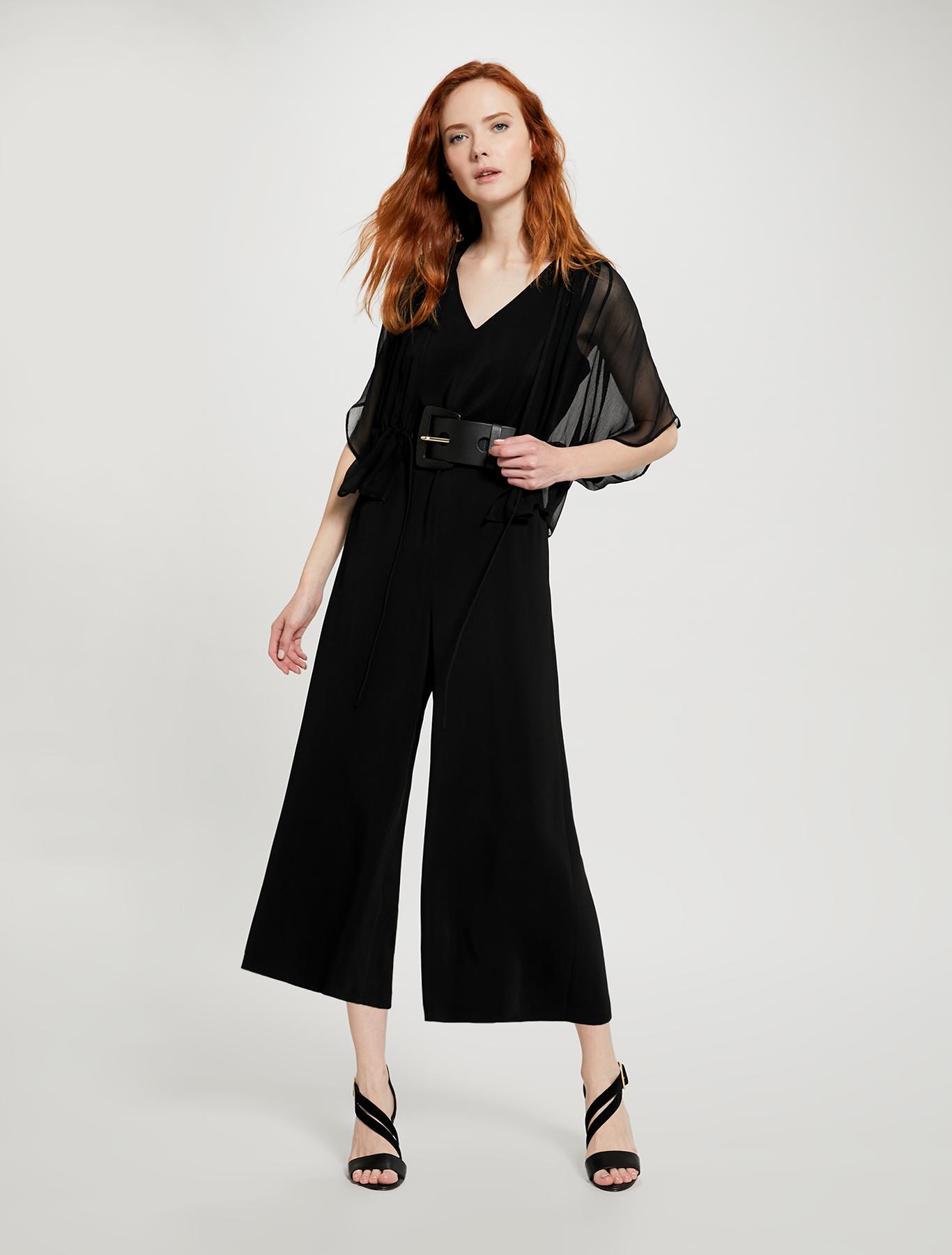 Cropped belted jumpsuit - black - pennyblack