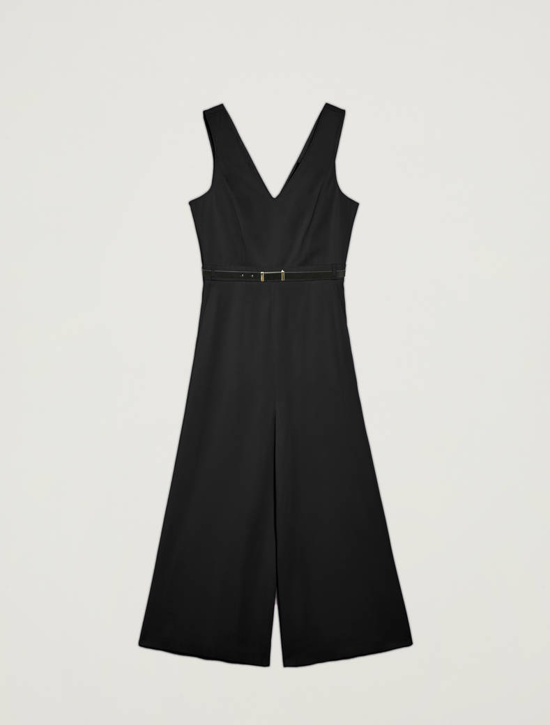 Cropped belted jumpsuit - black - pennyblack