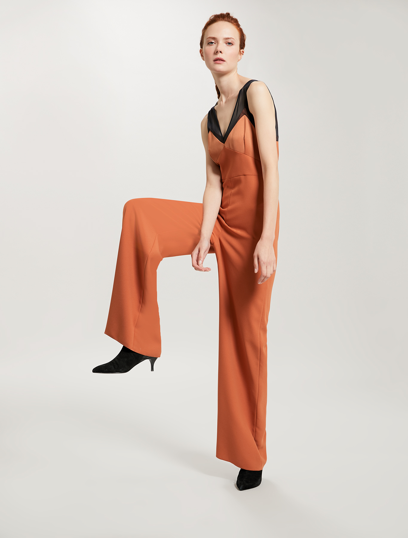 Jumpsuit with satin and tulle details - hazelnut - pennyblack