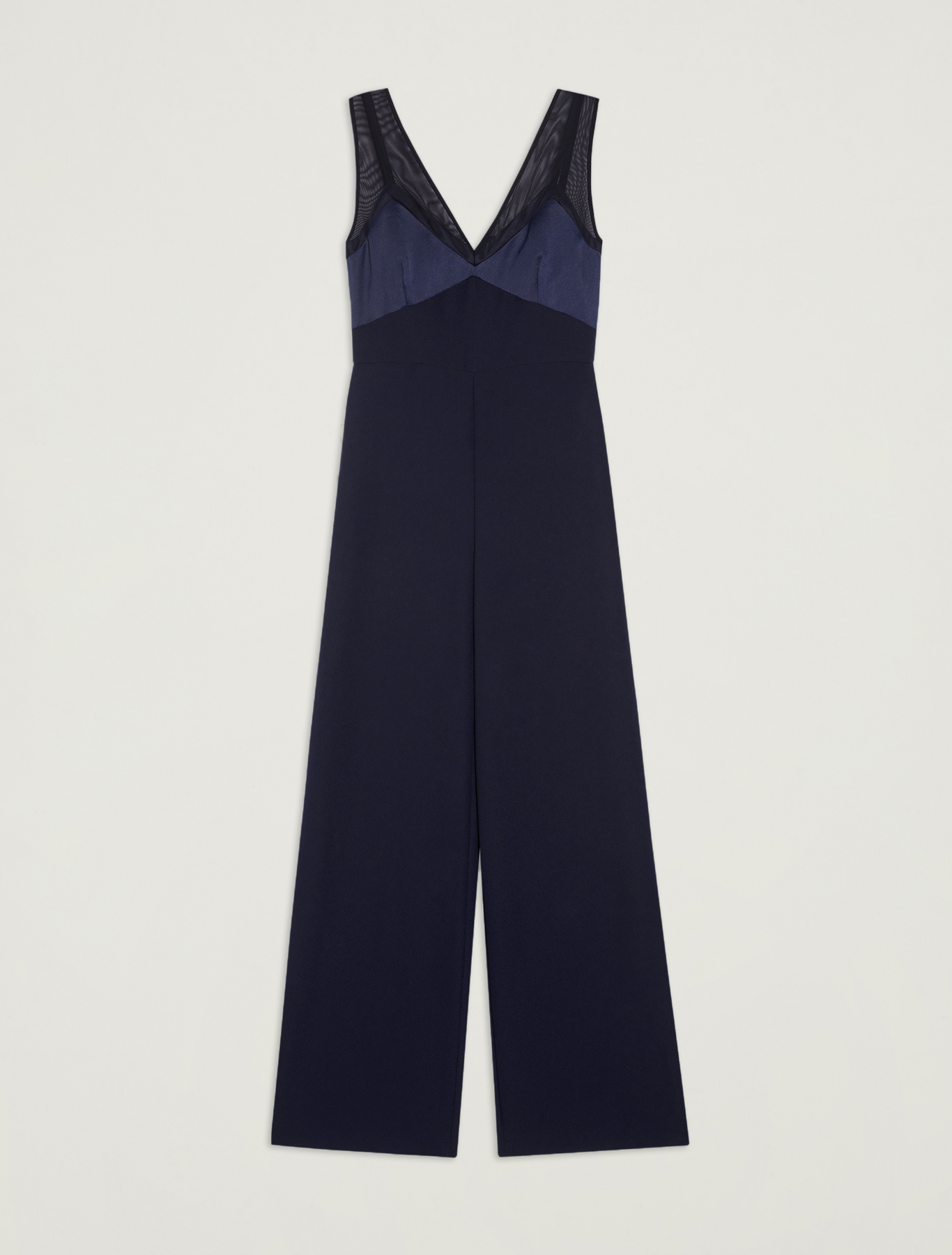 Jumpsuit with satin and tulle details - navy blue - pennyblack