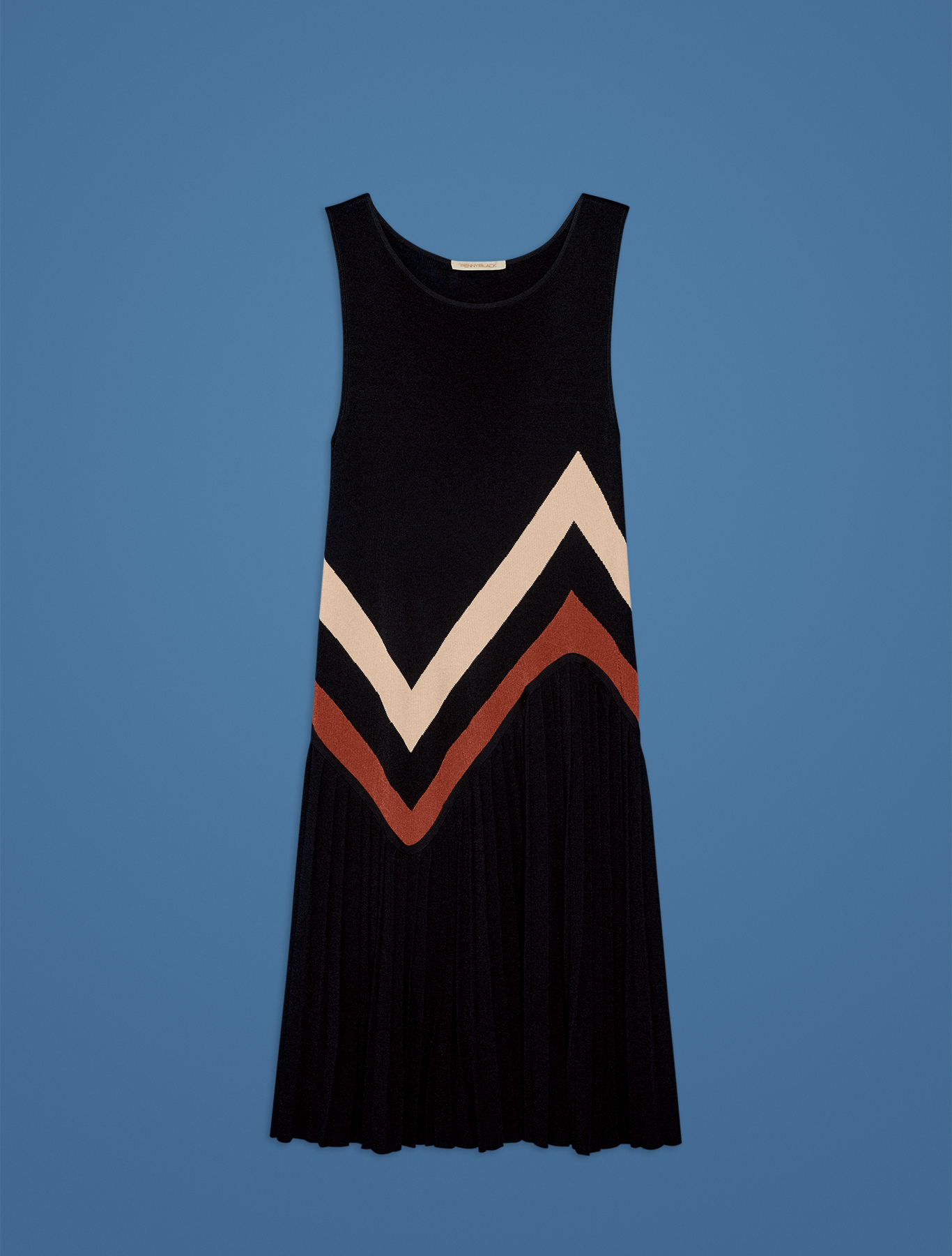 Knit dress with inlays and pleating - navy blue pattern - pennyblack