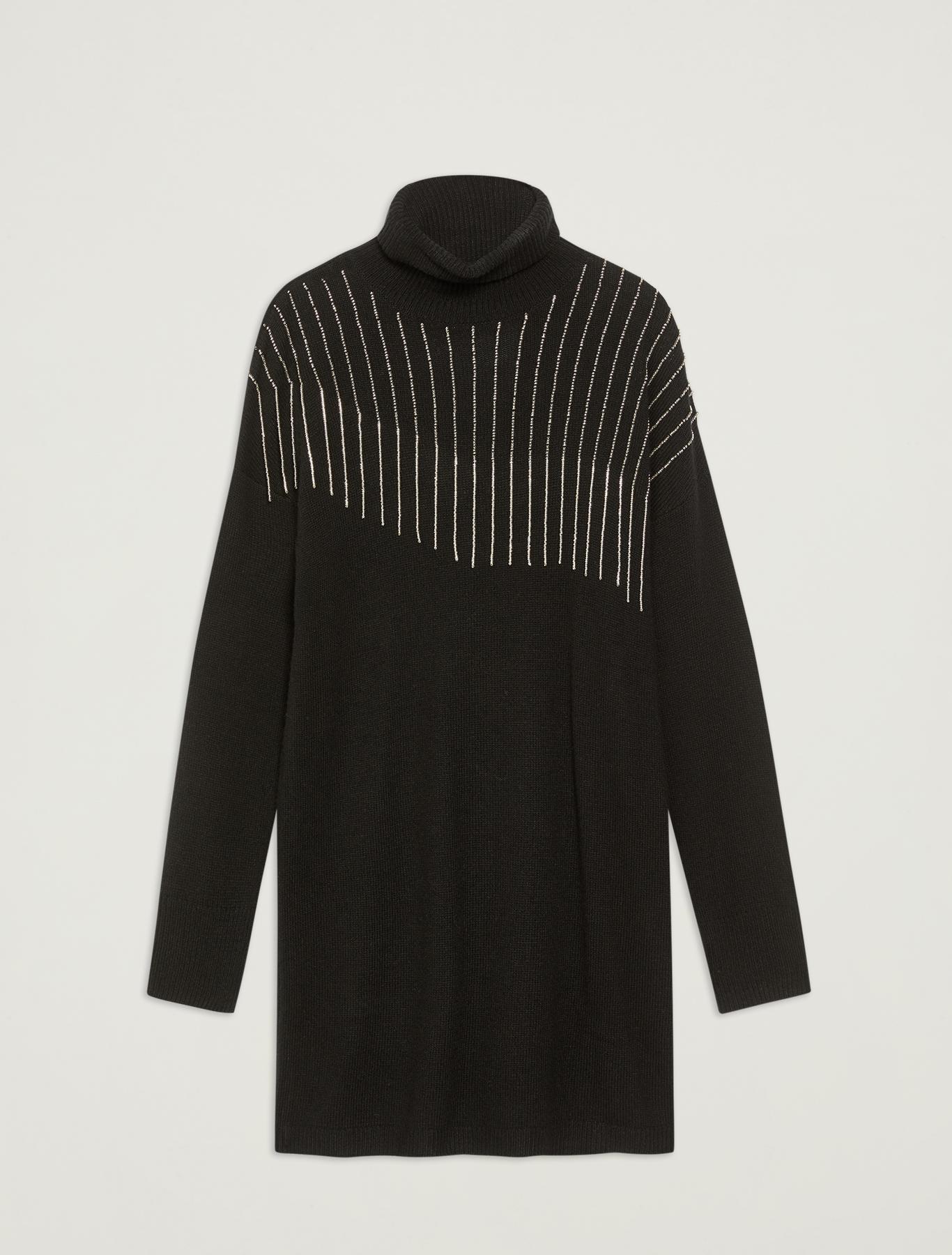 Knit dress with beaded fringing - black - pennyblack