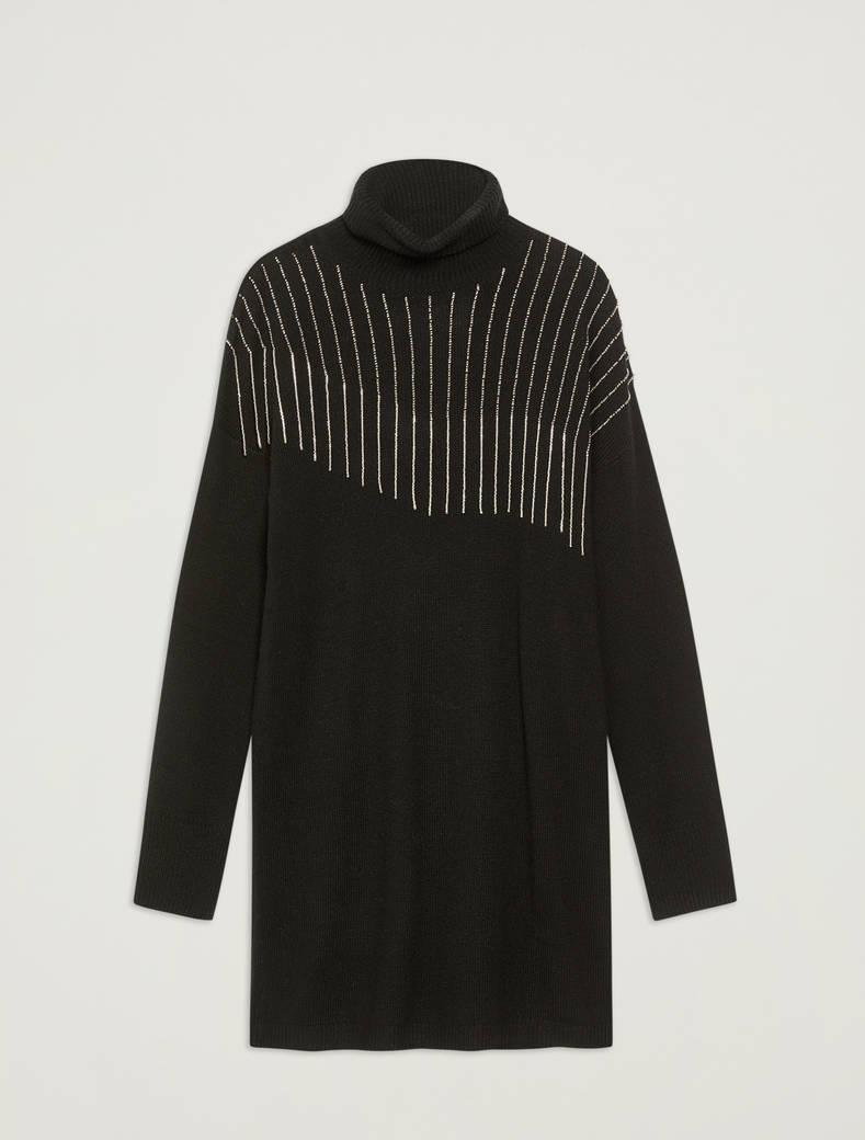 Knit dress with beaded fringing - black - pennyblack