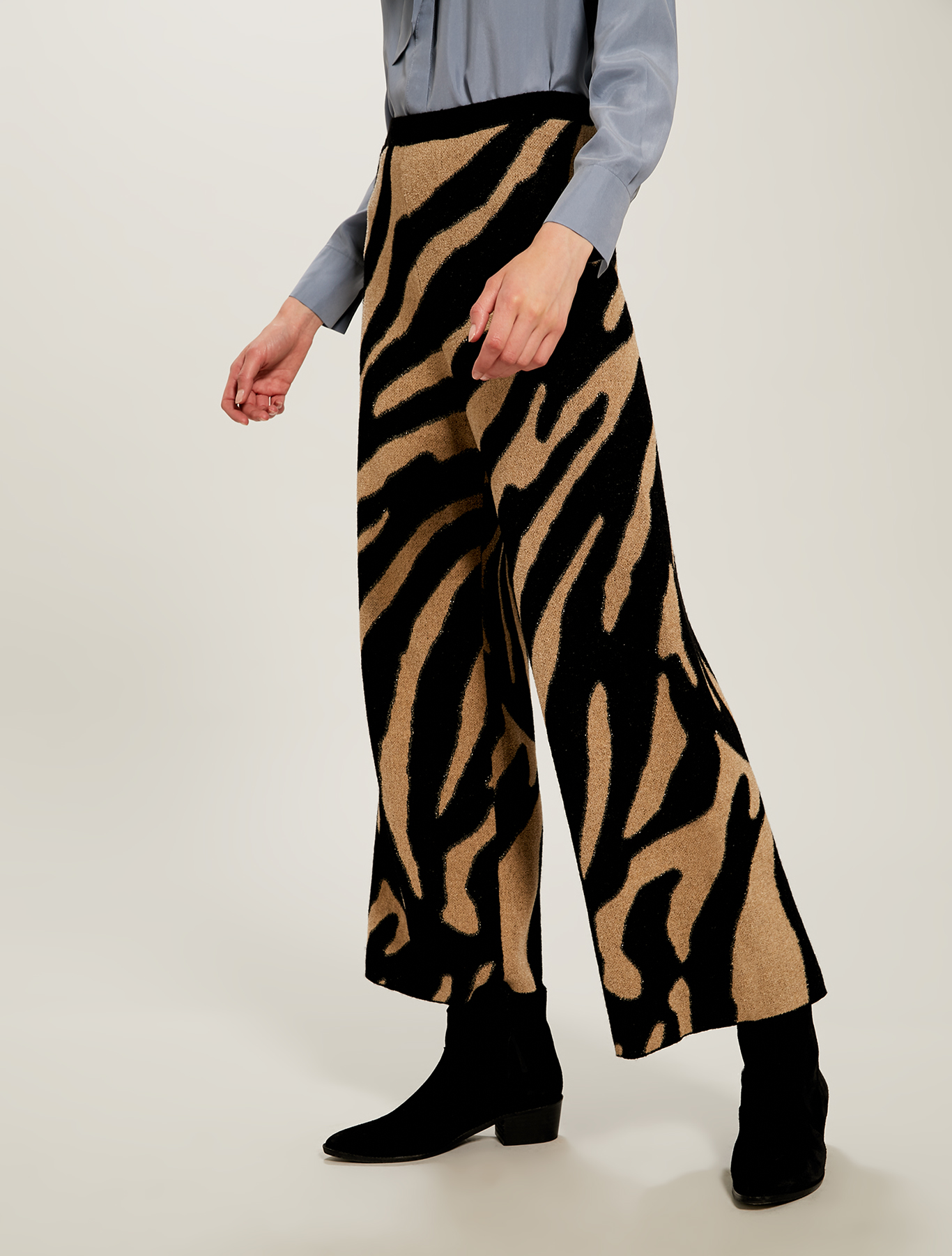 Pantaloni in maglia animalier - fantasia cammello - pennyblack
