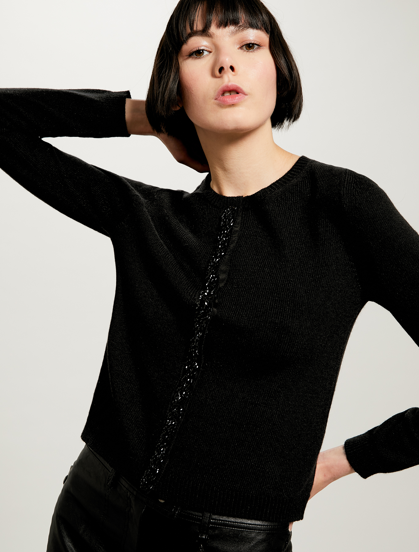 Cardigan with beaded trim - black - pennyblack