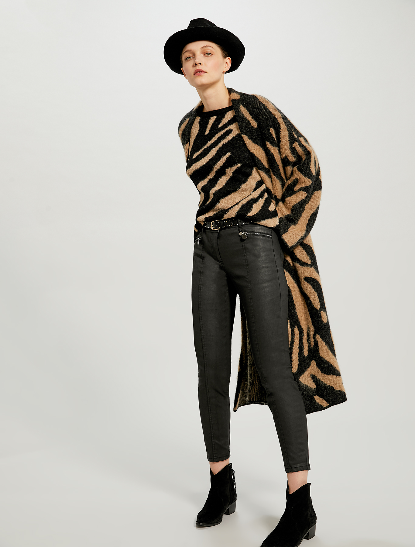 Animal print jacquard coatigan - black - pennyblack