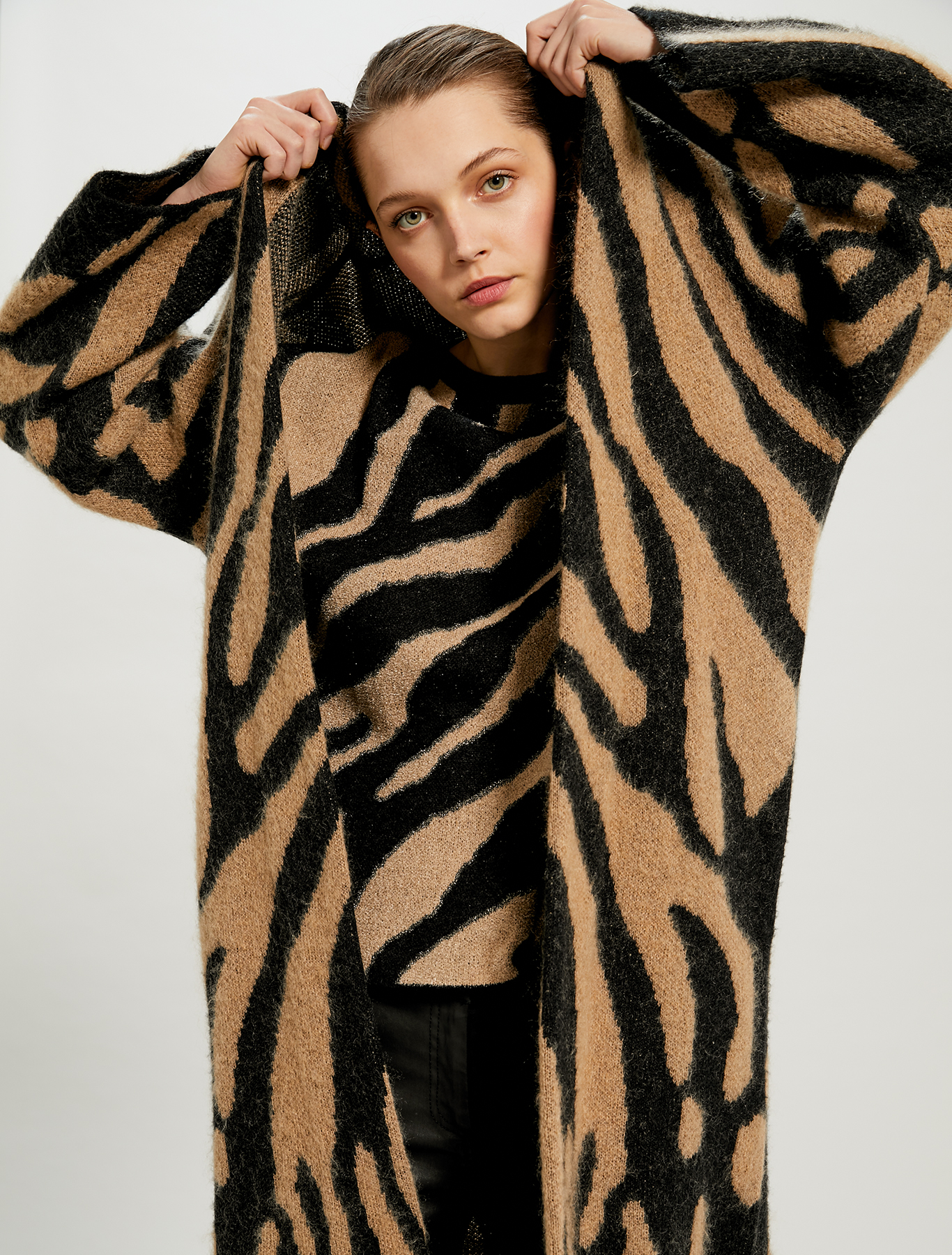 Animal print jacquard coatigan - black - pennyblack