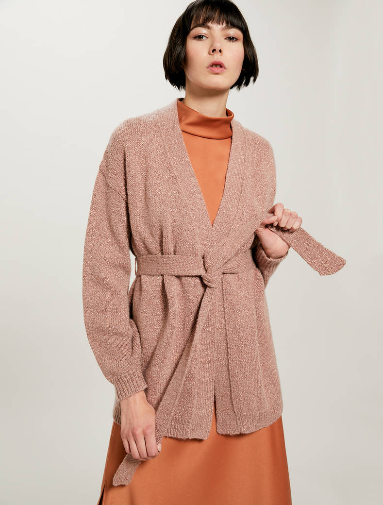 Lamé cardigan with belt - pink - pennyblack