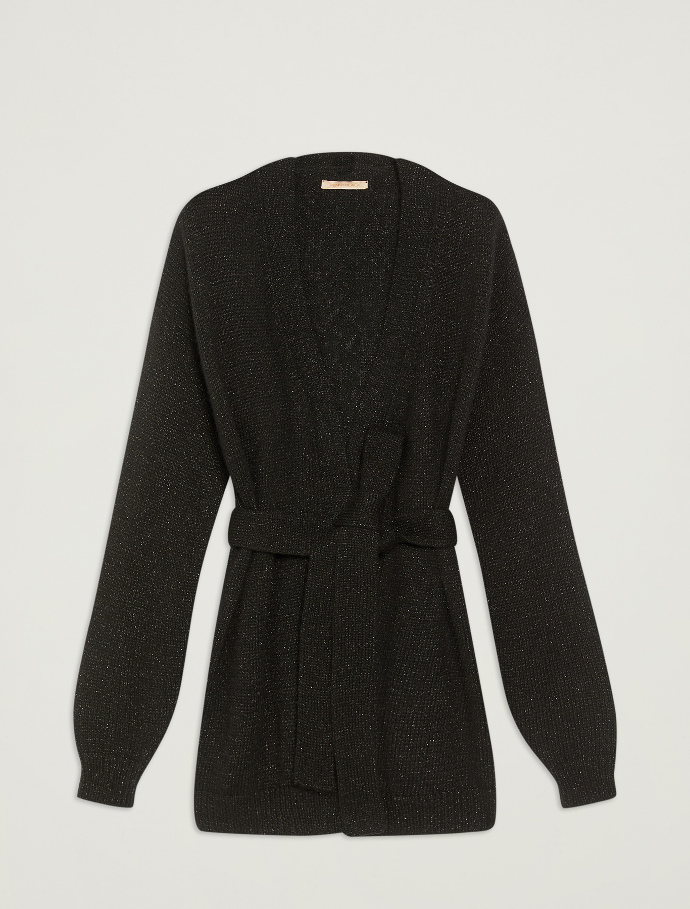 Lamé cardigan with belt - black - pennyblack