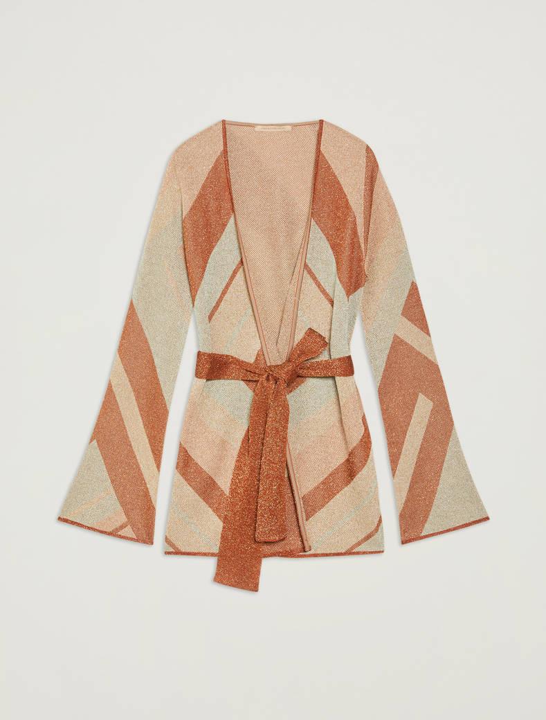 Lamé jacquard cardigan - rust - pennyblack