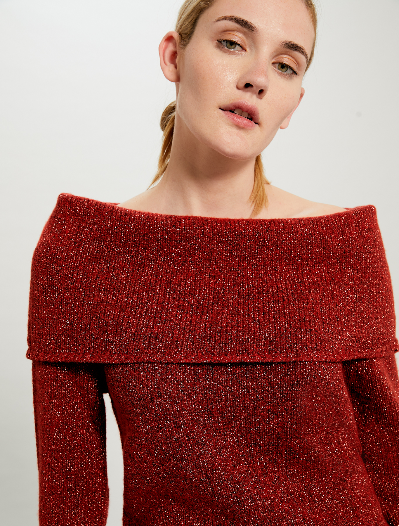 Lamé jumper with cowl neck - rust - pennyblack