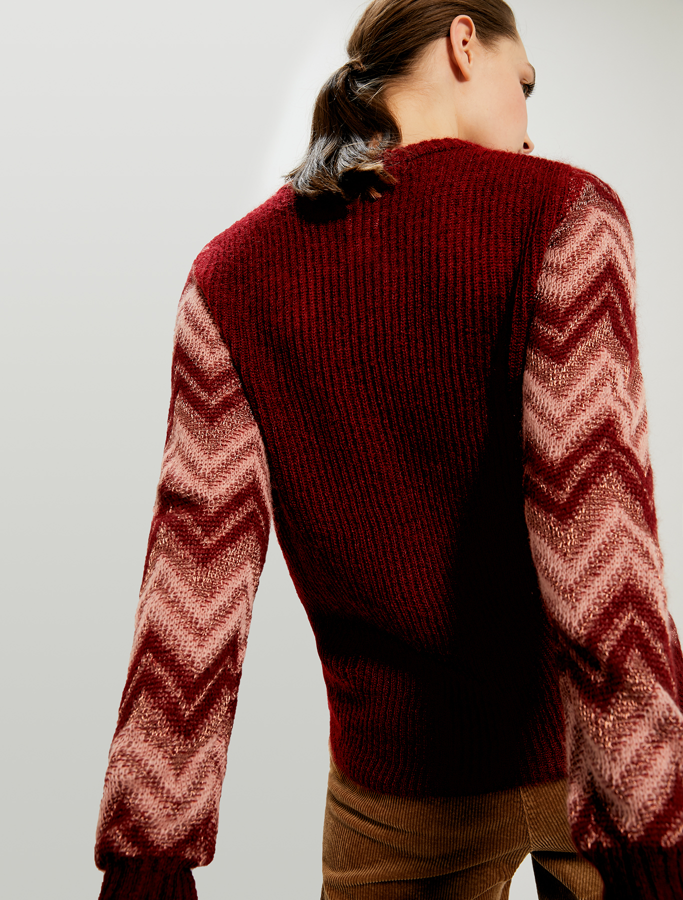 Lamé jacquard jumper - burgundy - pennyblack