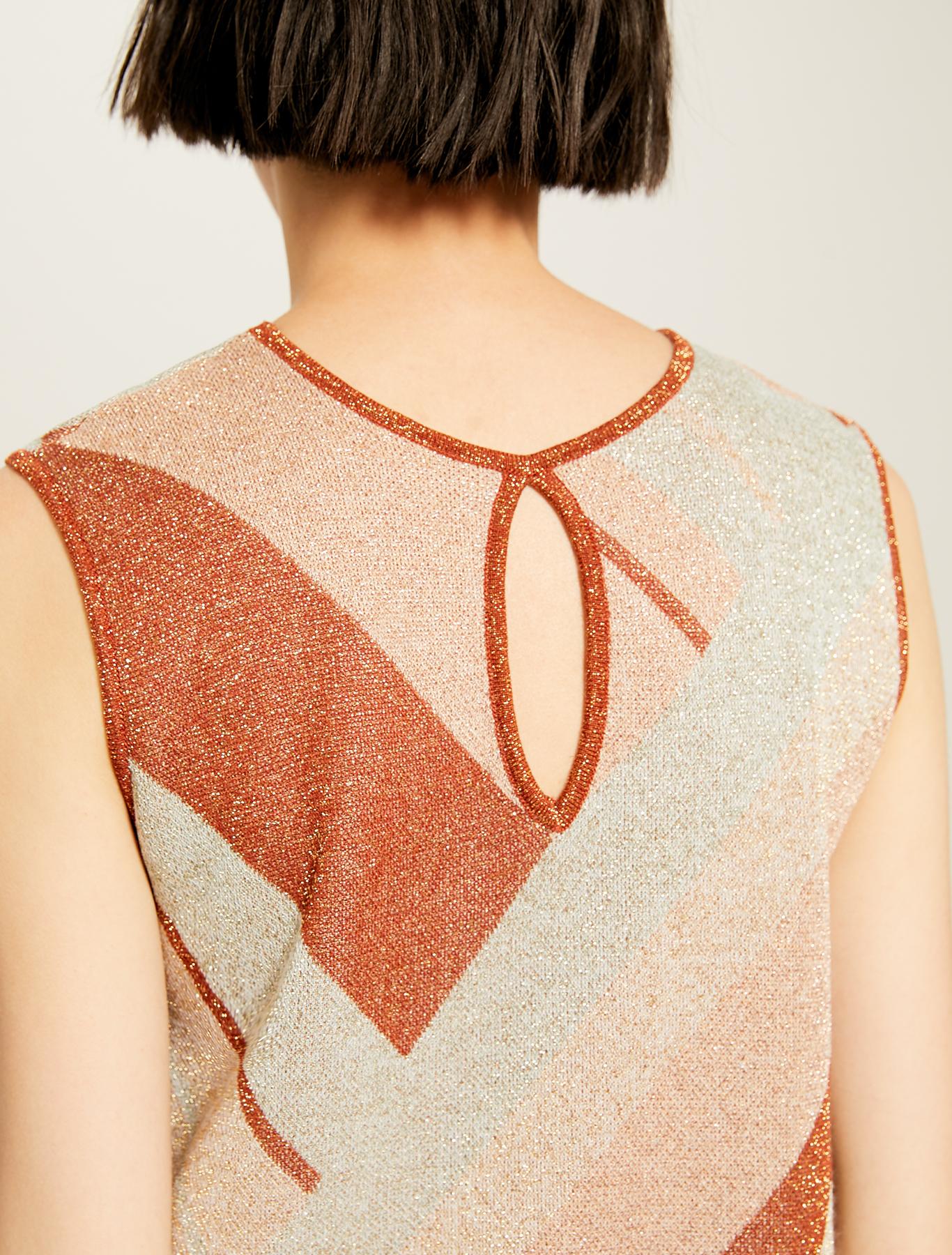 Lamé jacquard knit top - rust - pennyblack