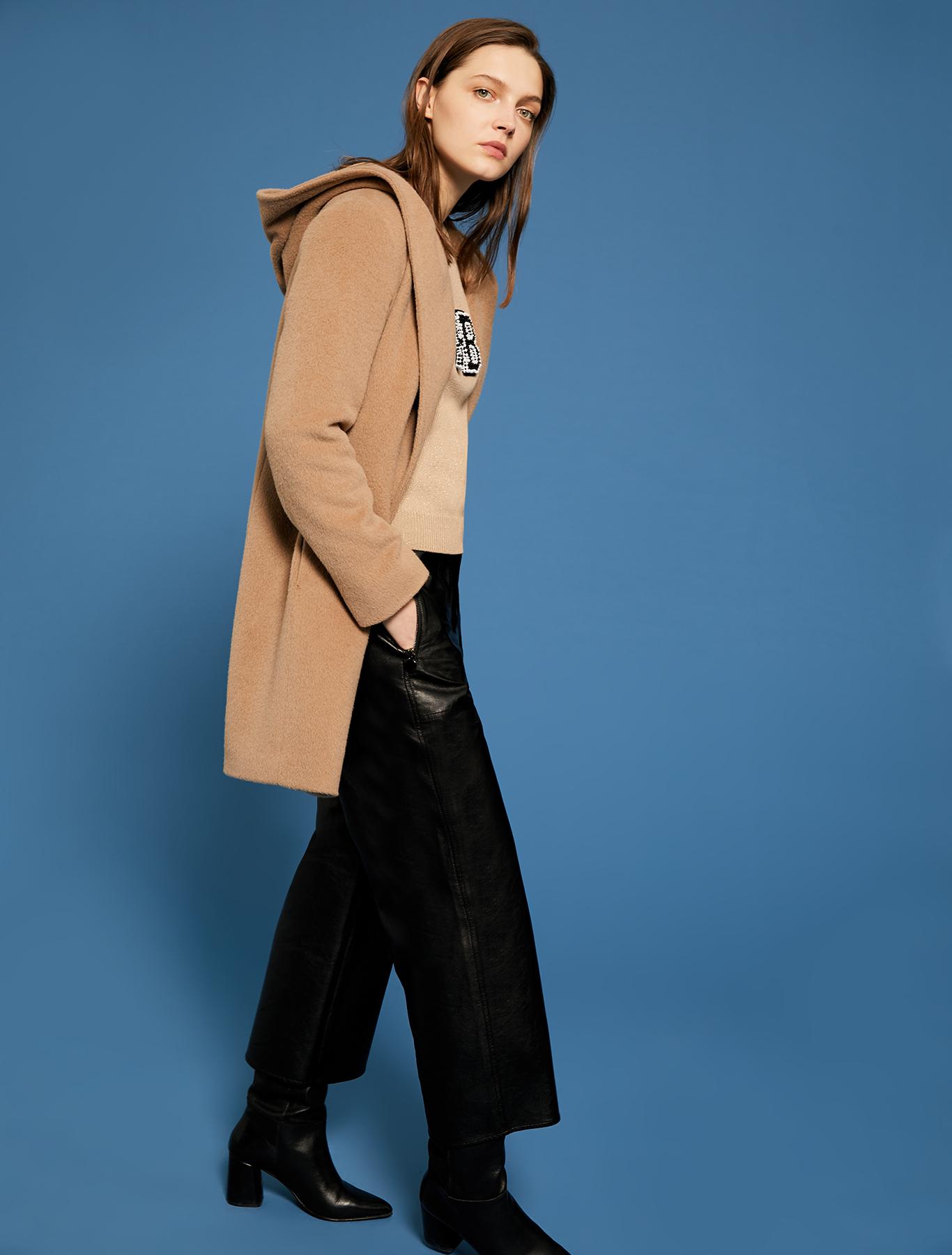Lamé jumper with 3D lettering - camel - pennyblack