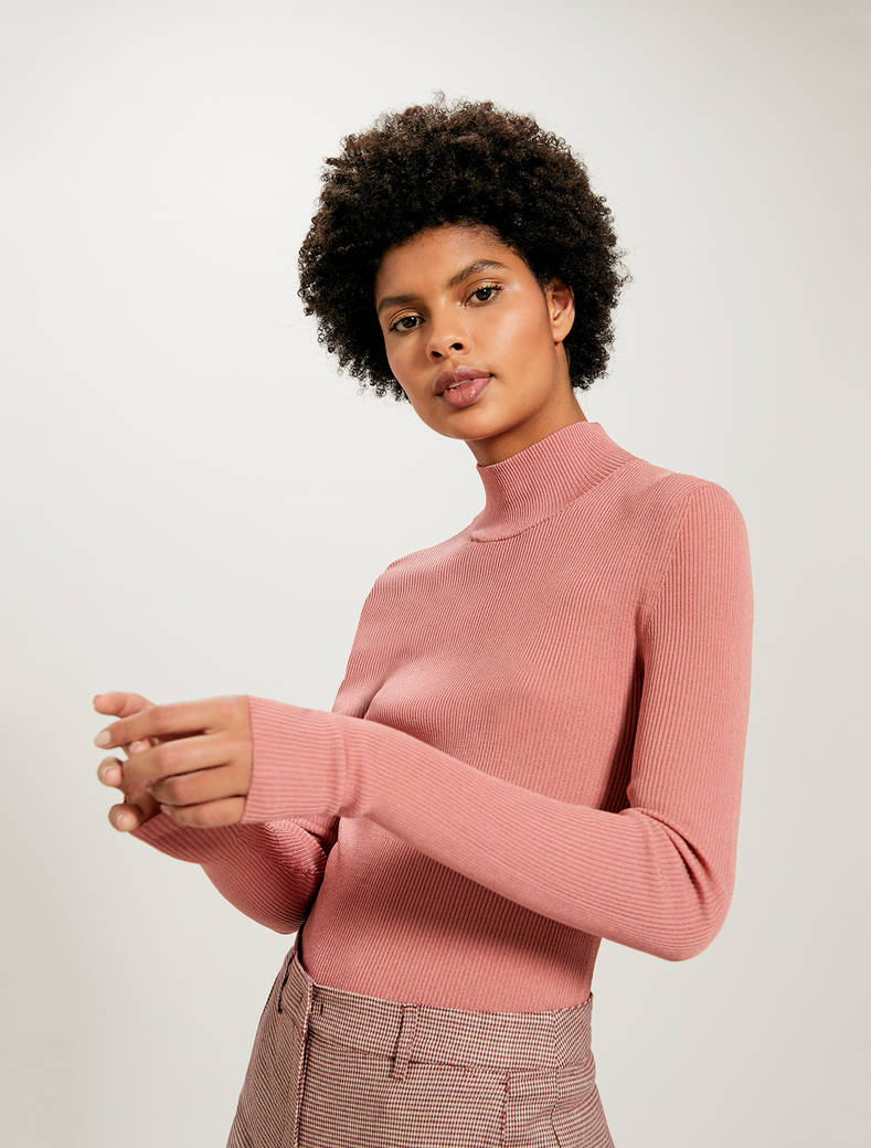 Ribbed knit turtleneck - salmon pink - pennyblack