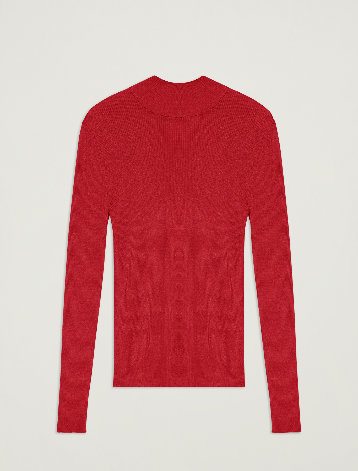 Ribbed knit turtleneck - red - pennyblack