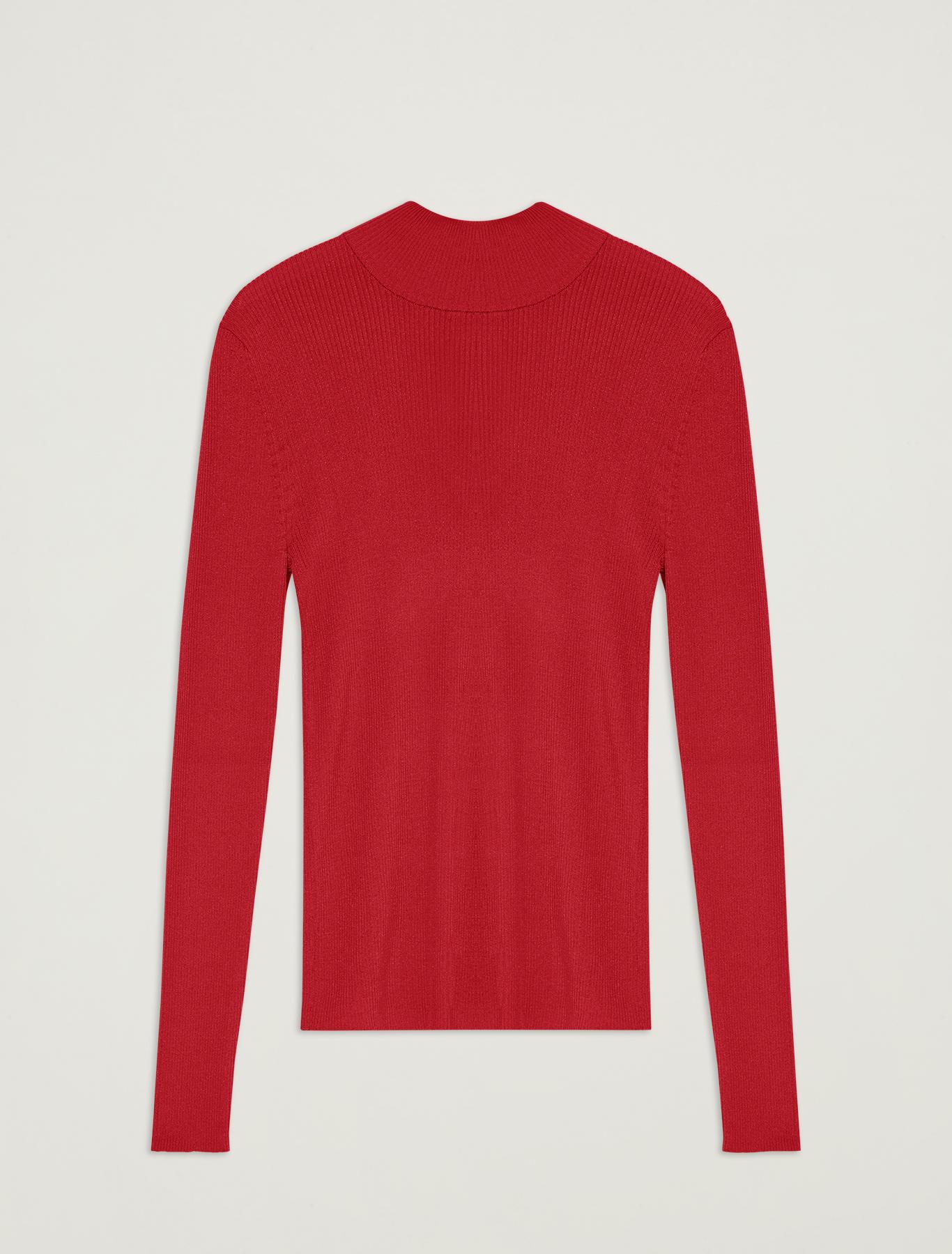 Ribbed knit turtleneck - red - pennyblack