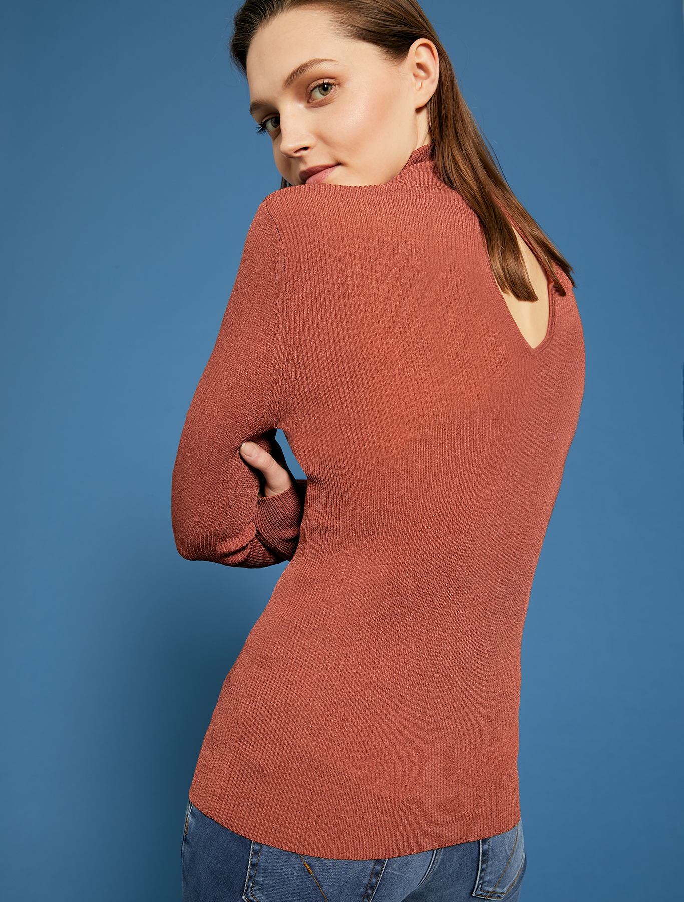 Ribbed knit turtleneck - brown - pennyblack